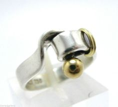 Vintage TIFFANY & Co 18K Gold & Sterling Hook & Eye Ring Size 6.5