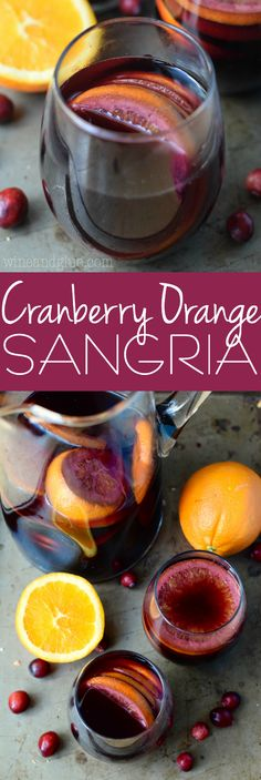 This Cranberry Orange Sangria is easy to make but full of delicious fall flavor! Make a big pitcher for your next party!: