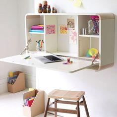 fold-down desk with cabinet | kokokoKIDS: Kids Craft Area and Art Supplies Organization