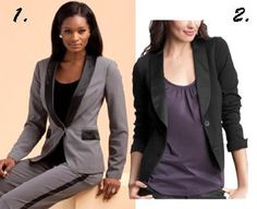A tuxedo blazer. Less masculine than a boyfriend blazer and more polished than a leather jacket, a tuxedo jacket can be layered over a gown, worn with a blouse and shorts or paired with matching pants to make a suit. Womens Tuxedo Jacket, Boyfriend Blazer, Party Looks, Leather Jacket, Glamour, Gowns, Suits, Blouse, How To Wear