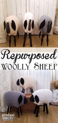 Woolly Sheep Made from Repurposed Materials by Prodigal Pieces | prodigalpieces.com
