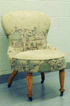 Montreal-based upholstery & textile design company offering an eco-friendly upholstery service for secondhand furniture and a selection of unique product Second Hand Furniture, Kitchen Nook, Textile Design, Upholstery, Chair, Home Decor, Block Print Fabric, Home, Tapestries
