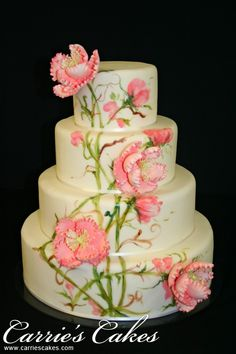 Dakota, Handpainted Floral Design by Carrie's Cakes - http://www.carriescakes.com/cakes/latest-creations#