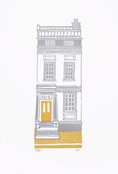 NEW House 2 - Grey & Mustard - Limited Edition Linocut via Etsy