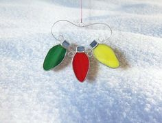 Christmas Lights Stained Glass Suncatcher or Ornament | LadybugStainedGlass - Glass on ArtFire