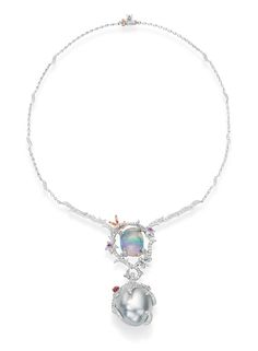 Legend necklace from Mikimoto featuring a 11.42ct. tumbled Water Opal, a 24mm Baroque South Sea Pearl, pink sapphires, rubies and diamonds set in pink and white gold. #pearls #mikimoto #luxury