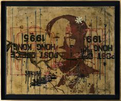 Jose Luis Ferragut - Mao - 2017, oil paint, ink and epoxy resin on chinese mailbag canvas. 87 X 104 CM framed.