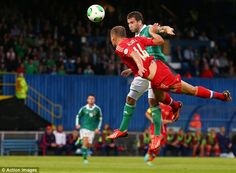 Martin Paterson rises to score the winner for Northern Ireland against Russia in the 1-0 win.