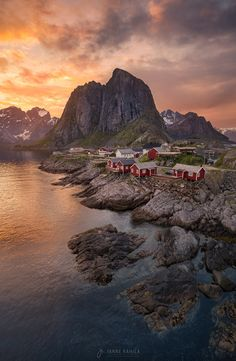 """Cosy Cabins - This has to be the most photographed spot in the 21st century but I still had to shoot it myself. It was my last night in Lofoten as the sky finally opened up and I rushed to take the last sunset-shots while the light was still there. I rushed to take just one shot of this location before heading to Reine to take more unique photos like <a href=""""https://500px.com/photo/110852291/the-ol-mighty-stinden-by-janne-kahila?from=user_library"""">The Ol-mighty-stinden</a>. So here is my…"""