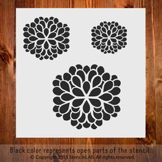 """Small Floral Stencil. A Set Of Three Flowers (11"""""""" x 11"""""""")"""