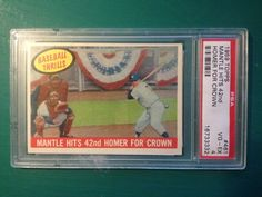 1959 Topps #461 MICKEY MANTLE Hits 42nd HR For Crown PSA VG-EX4 New York Yankees #NewYorkYankees