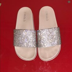 Shop Women's Pink size 8 Sandals at a discounted price at Poshmark. Description: These are cute comfortable slides to through on inside and outside the house! Glitter Slides, Rhinestone Shoes, Slide Sandals, Pink Ladies, Color, Products, Fashion, Heels, Zapatos