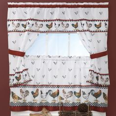 Top of the Morning 5-pc. Swag Tier Cottage Kitchen Curtain Set, Red