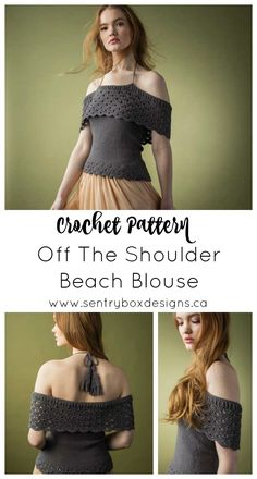 Mermaid Vibes Beach Blouse - Sentry Box Designs off-the shoulder beach blouse Available in Interweave crochet spring 2019 Crochet Crafts, Easy Crochet, Free Crochet, Knit Crochet, Crochet Sweaters, Crochet Summer Tops, Crochet Tops, Crochet Designs, Crochet Patterns