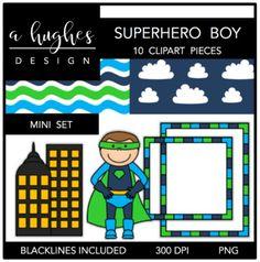 Superhero Boy Mini Clipart Bundle {A Hughes Design}
