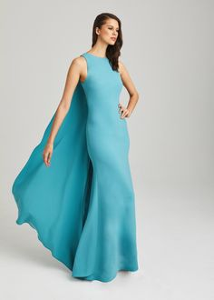 Anne Barge Black Label - Red carpet ready evening wear. Stretch crepe column gown in vibrant Azul with cascading cape.