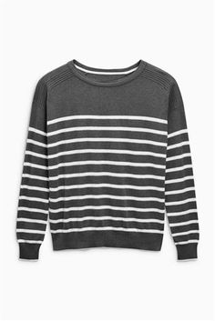 Buy Charcoal Stripe Crew Neck Sweater from the Next UK online shop Latest Fashion For Women, Mens Fashion, Crew Neck, V Neck, Jumpers For Women, Next Uk, Uk Online, Charcoal, Stylish