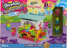 Shopkins Kinstructions Flower Stand w/ Peta Plant, Prickles, Mintee figures