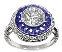 1.08ct Art Deco Style 18k White Gold Diamond Sapphire Cluster Ring
