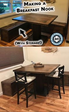 Should be able to use current table In this instructable I build a simple breakfast nook and kitchen table out of and Sanded plywood. This simple design can be easily scaled and made bigger or smaller to fit your space.