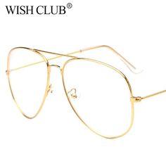 8fea497619 1.81 30% de DESCUENTO|Nueva moda gafas piloto mujeres gafas de lectura de  los hombres gafas de sol de Metal Vintage borde completo transparente gafas  en ...
