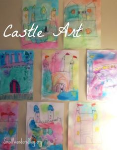 Fairy tale theme: water color castles. Preschool art at smallwondersblog.org