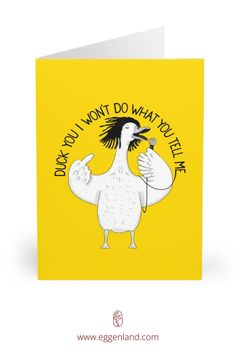 Duck singing Rage Against The Machine. Semi-glossy finish of these greeting cards adds a beautiful shine while the matching white envelopes create a complete package. This greeting card is from Animal Karaoke collection.