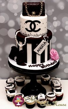 Chanel Birthday Cake but instead of the name angela i'll rather have you put – Lace Wedding Cake Ideas Chanel Birthday Cake, Cake Birthday, Happy Birthday, Girl Birthday, Chanel Torte, Coco Chanel Cake, Bolo Channel, Super Torte, White Desserts