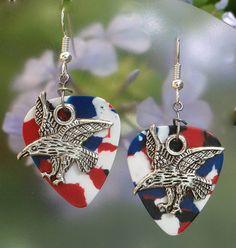 Eagle Earrings Patriotic Guitar Pick by CraftyCutiesbyDesign