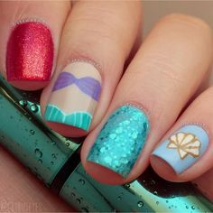 Add some inspiration from under the sea to your next manicure with mermaid nails. Take a peek at some of our favorite mermaid nail art designs. Nails For Kids, Girls Nails, Disney Nail Designs, Nail Art Designs, Diy Disney Nails, Nails Design, New Nail Art, Cute Nail Art, Love Nails