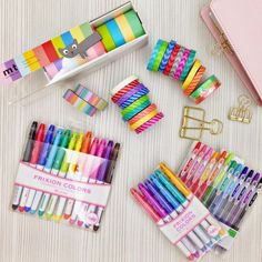 """Washi tapes, frixion pens, clips, planner stuff. {{{I am drooling at this picture}}} =P"""