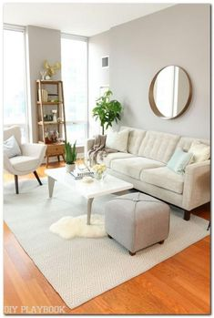 modern living room decor, neutral living room decor with white walls and coffee table decor 60 Small Apartment Living Room Decorating Ideas Living Pequeños, New Living Room, Small Living Rooms, Living Room Interior, Home And Living, Living Room Designs, Condo Interior, Living Spaces, Moroccan Living Rooms