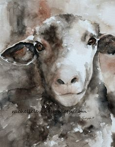 Little Girls nursery decor Cute vintage sheep picture  Large Sheep PRINT 11x14 (watercolor Painting nursery painting Sheep art PRINT)