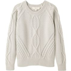 Vanessa Bruno Athé Cable Knit Pullover (1.020 RON) ❤ liked on Polyvore featuring tops, sweaters, shirts, jumpers, cable pullover, long sleeve crew neck shirts, crew neck shirt, cable sweater und long sleeve pullover sweater