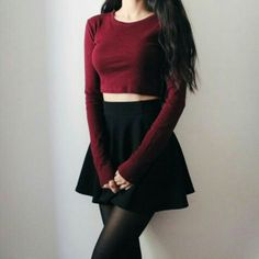 maroon and black goth outfit