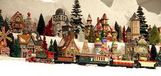 A train passing on Christmas Village mountain. The Richard Nixon Presidential Library yearly Christmas season miniature electric train exhibit ...