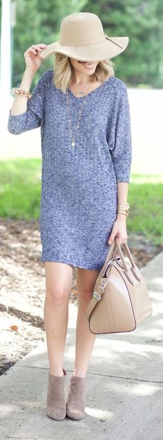 Grey Sweater Dress Fall xo