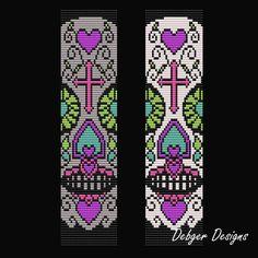 Sugar Skull 5 Loom Bracelet Cuff Pattern by LoomTomb on Etsy