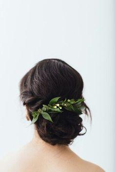 elegant wedding hair   bridal style inspiration   greenery flower crown   organic wedding inspiration