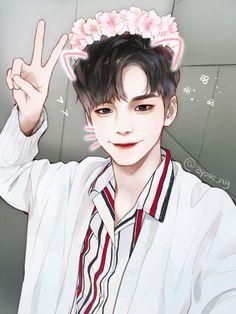 Digital Art Anime, Anime Art, Selfies, Boy Illustration, Illustrations, Ong Seongwoo, Bts Aesthetic Pictures, Korean Art, Guy Drawing