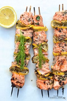 A l ¡ n a Grilled Salmon Kebabs...Love the lemon in this recipe!
