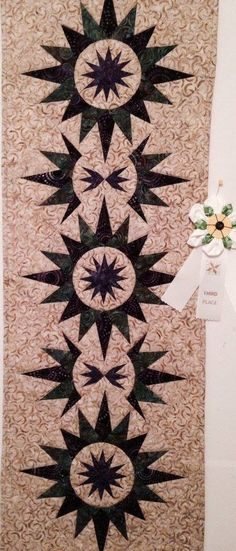CACTUS FLOWER QUILT........PC............Cactus Flower Table Runner, designed by Quiltworx.com, made by Patricia Cook…