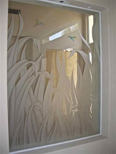 etched glass window reeds hummingbird painted glass - 1