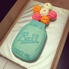 Mason jar ball cake and cupcakes. Cute birthday or shower idea.
