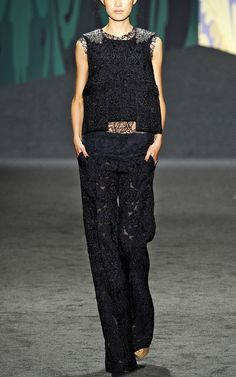Vera Wang: Lace Jacquard Pajama Trousers