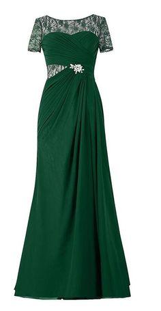 Endofjune Illusion Lace Bateau Neckline Long Mother of the Bride Dress US-10 Dark Green *** Unbelievable  item right here! : Mother of the Bride