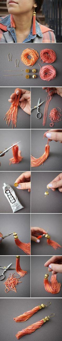 boucle d oreille diy du type tassel, des pampilles orange, idée comment fabriquer une boucle d'oreille pendant