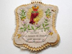 ♒ Enchanting Embroidery ♒ embroidered Sacred Heart