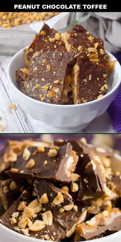 Easy and delicious, this sweet, salty, crunchy peanut chocolate toffee is a favorite candy! Fun Baking Recipes, Fudge Recipes, Candy Recipes, Sweet Recipes, Snack Recipes, Snacks, Christmas Desserts, Christmas Baking, Chocolate Toffee