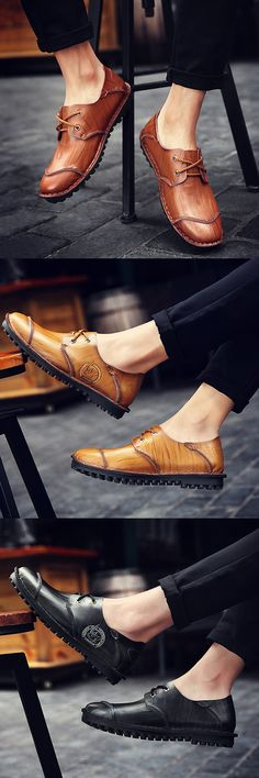 US$41.32 Men Vintage Hand Stitching Special pattern Cap-toes Flat Casual Leather Shoes